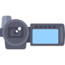 digital camera, camcorder, technology, electronics, domestic, video camera Black icon