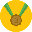 medal, Prize, sports, third, Sports And Competition, Bronze Medal Gold icon