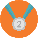 medal, Prize, sports, second, Sports And Competition, Silver Medal Coral icon
