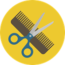 Comb, hair, Barber, Tools And Utensils, scissors, miscellaneous, Beauty, Hairdresser Goldenrod icon