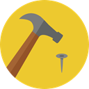 hammer, Nail, Home Repair, Improvement, Construction And Tools Goldenrod icon