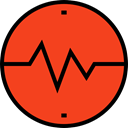graph, Heart, medical, frequency, pulse, Beating, Pulse Rate OrangeRed icon