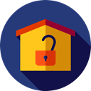 Home, house, buildings, property, unsecure, real estate MidnightBlue icon