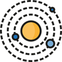 planet, science, education, Orbit, Astronomy, solar system, Moons Black icon