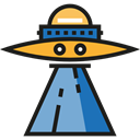 Alien, transport, extraterrestrial, Science Fiction, Ufo, spaceship, transportation Black icon