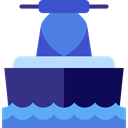 sport, navigation, transportation, transport, Jet Boating RoyalBlue icon