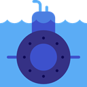 transportation, transport, nautic, nautical, Submarine, underwater CornflowerBlue icon