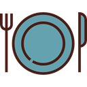 Dish, Cutlery, Tools And Utensils, Food And Restaurant, Fork, Knife, Plate, Restaurant CadetBlue icon