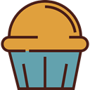 food, cupcake, muffin, Dessert, sweet, Bakery, baked, Food And Restaurant Goldenrod icon