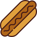 Hot Dog, Food And Restaurant, food, Fast food, junk food, Sausage Goldenrod icon