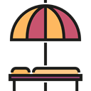Holidays, summer, vacations, Hammock, Sun Umbrella Black icon