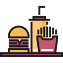 drink, Fast food, Burger, hamburger, french fries, Food And Restaurant Icon