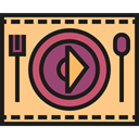 Fork, Knife, Plate, Restaurant, Dish, Cutlery, Tools And Utensils, Food And Restaurant Khaki icon