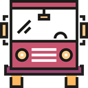 transportation, transport, vehicle, Bus, school bus, Automobile, Public transport IndianRed icon