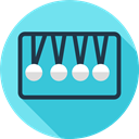 Energy, miscellaneous, education, physics, Momentum, Newtons Cradle MediumTurquoise icon