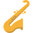 music, jazz, saxophone, musical instrument, sax, Wind Instrument, Music And Multimedia Black icon