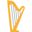 music, Harp, musical instrument, Orchestra, String Instrument, Music And Multimedia Black icon