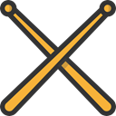 Orchestra, Drumsticks, Music And Multimedia, music, Drum, musical instrument, Percussion Instrument Black icon