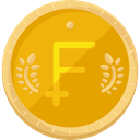 Business, Money, coin, france, Currency, Franc, Business And Finance Orange icon