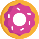 food, Dessert, sweet, donut, baker, doughnut, Food And Restaurant PaleVioletRed icon