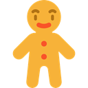 gingerbread man, Food And Restaurant, food, cookie, Dessert, gingerbread, sweet, Bakery Goldenrod icon