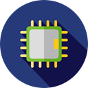 Chip, processor, Cpu, technology, electronic, electronics MidnightBlue icon