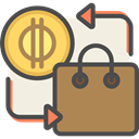 Money, coin, pay, buy, shopping bag, buying, Commerce And Shopping Peru icon