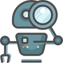 Searching, Loupe, Seo And Web, magnifying glass, robot, seo DarkSlateGray icon
