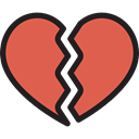 love, shapes, romantic, heartbreak, Broken Heart, Sports And Competition IndianRed icon
