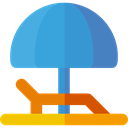 summer, vacations, Hammock, Sun Umbrella, Holidays SteelBlue icon