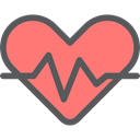 Heart, medical, pulse, heart rate, Electrocardiogram, Cardiogram, Healthcare And Medical Salmon icon