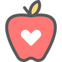 Apple, Heart, food, Healthcare And Medical, Fruit, organic, Healthy Food, Heart Shape Salmon icon