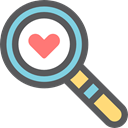 Heart, magnifying glass, medical, Loupe, checking, Healthcare And Medical DimGray icon