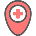 medical, hospital, Gps, placeholder, signs, map pointer, Maps And Flags, Map Location, Map Point, Healthcare And Medical Salmon icon