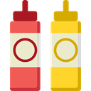 food, Mustard, ketchup, Spicy, Condiment, Sauces, Food And Restaurant AntiqueWhite icon