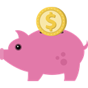 piggy bank, piggybank, Animals, money box, Cash Box, Business And Finance, Animal, pig PaleVioletRed icon