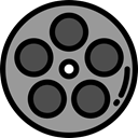 entertainment, film reel, video player, filming, film, movie, interface, technology, cinema DarkGray icon