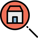 Home, house, real estate, search, magnifying glass, buildings, Searching Black icon