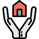 Home, house, security, Business, Protection, Money, Building, insurance, buildings, Hands, real estate Black icon