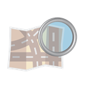 Find, zoom, Map, glass, Magnifier, And, Road Black icon
