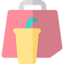 food, Bag, Delivery, Restaurant, Take Away, Food And Restaurant PaleVioletRed icon
