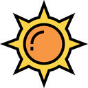 sun, weather, nature, Summertime, Sunny, warm, summer, meteorology Black icon
