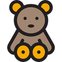 Animal, bear, Animals, children, teddy bear, childhood, puppet, Fluffy, Kid And Baby Black icon