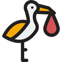 people, bird, baby, Animals, Stork, newborn, Birth, Kid And Baby Black icon
