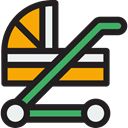 transport, children, childhood, stroller, Buggy, Pushchair, Pram, Kid And Baby Black icon