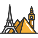 Eiffel, Pyramids, landmark, travel, tower, Big ben, Monument Black icon