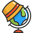 Geography, Maps And Flags, Planet Earth, globe, planet, hat, travel, Earth Globe, Earth Grid Icon