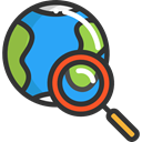 travel, Searching, Magnifying Lens, earth, world, search, interface DarkSlateGray icon