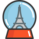 ornament, travel, tower, decoration, globe, Ball, Snow, shapes, Eiffel SkyBlue icon