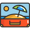 open, suitcase, travel, luggage, baggage, travelling, Tools And Utensils DarkSlateGray icon